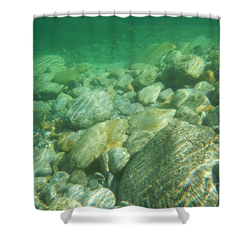 Stones Shower Curtain featuring the photograph Stones Under The Water by Mats Silvan