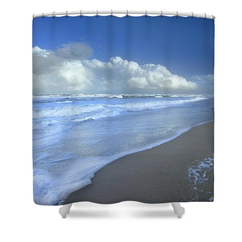 Mp Shower Curtain featuring the photograph Storm Cloud Over Beach, Canaveral by Tim Fitzharris
