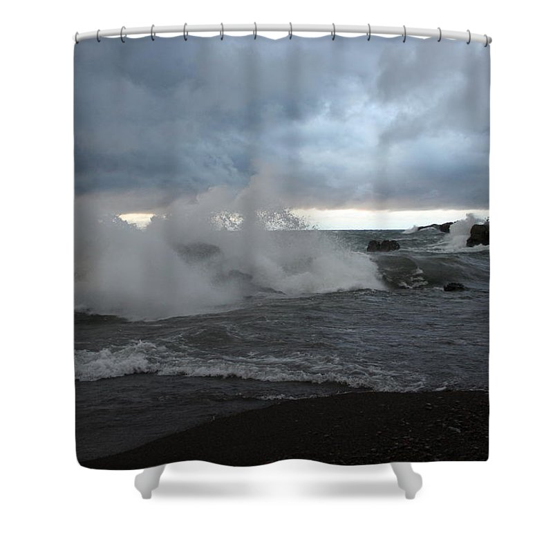 Storm On Black Beach Lake Superior Shower Curtain featuring the photograph Storm On Black Beach by Joi Electa