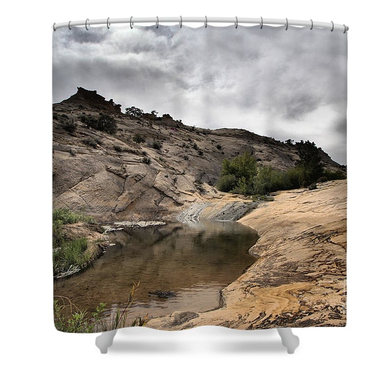 Upper Calf Creek Shower Curtain featuring the photograph Storm On The Horizon by Adam Jewell