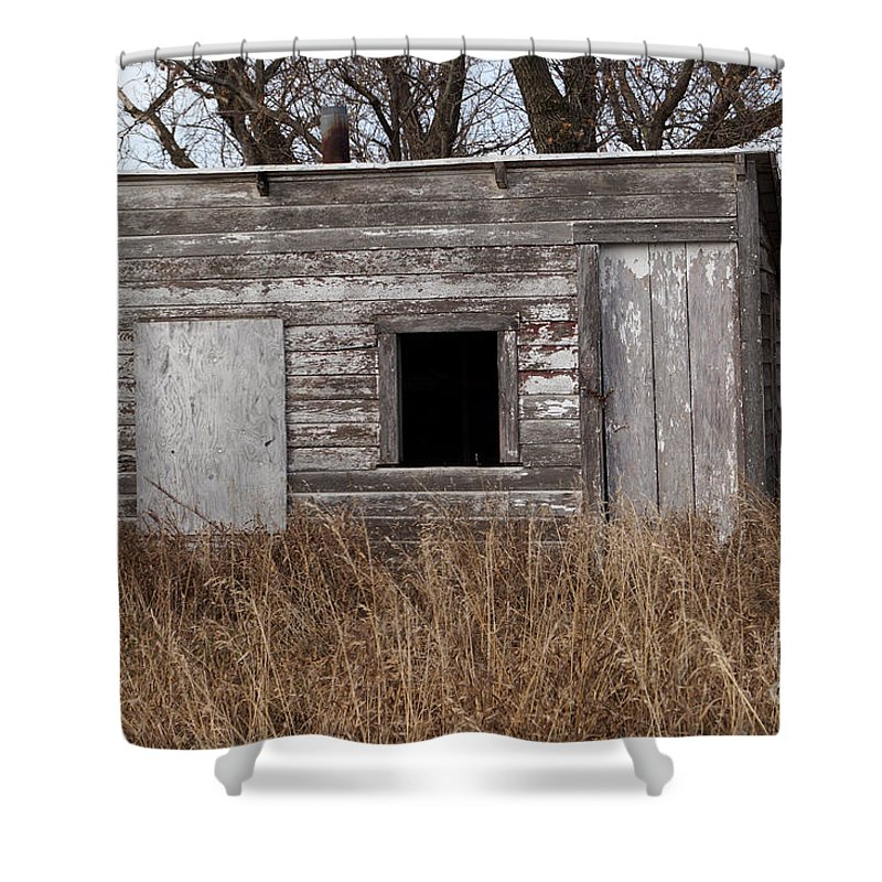 Farm Shower Curtain featuring the photograph Storm Shelter by Lori Tordsen
