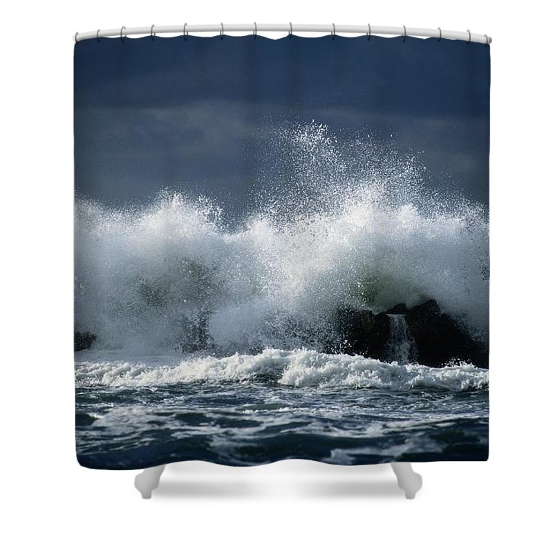 gulf Of Saint Lawrence Shower Curtain featuring the photograph Storm Surf On The Gulf Of St.lawrence by Raymond Gehman