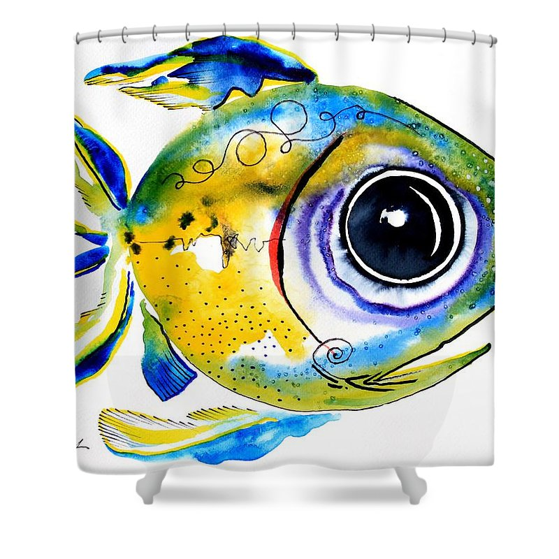 Fish Shower Curtain featuring the painting Stout Lookout Fish by J Vincent Scarpace