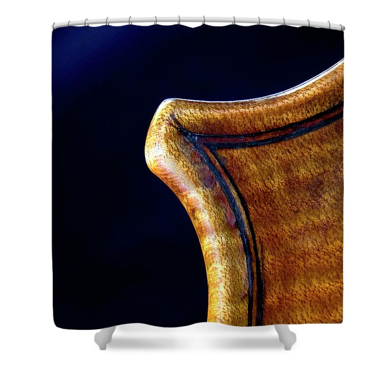 Strad Shower Curtain featuring the photograph Stradivarius Corner Closeup by Endre Balogh