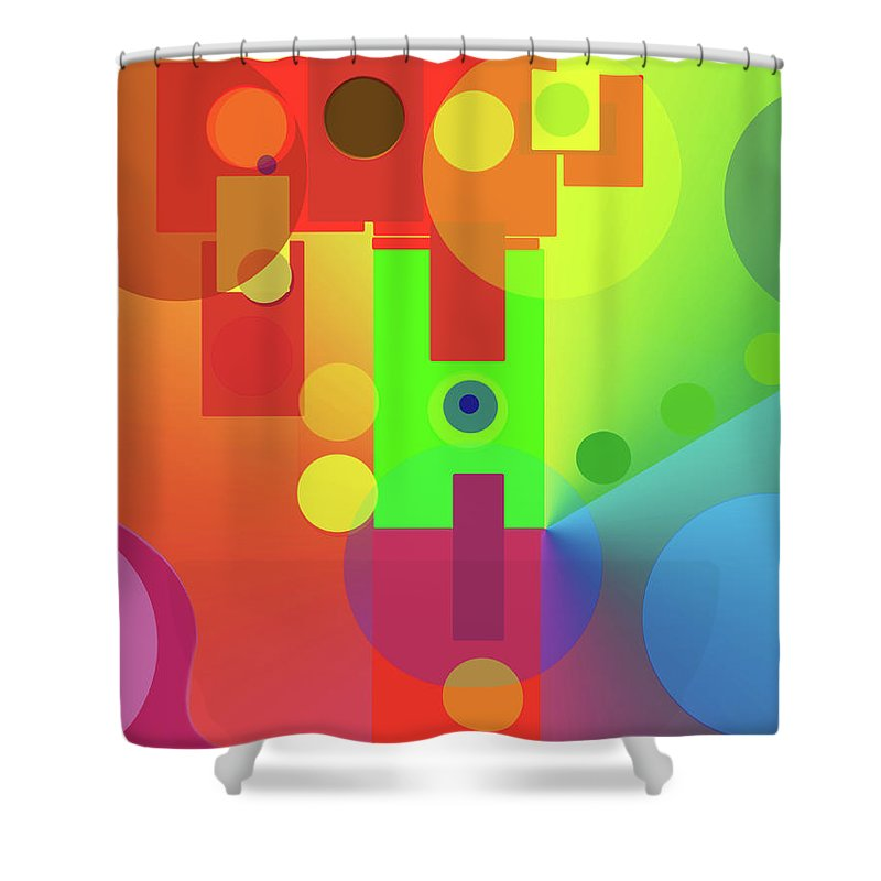 Abstract Shower Curtain featuring the digital art Strange Journey by Ian MacDonald