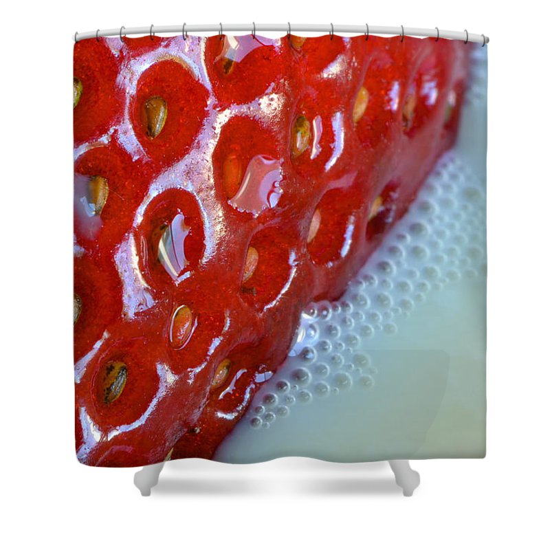Fruit Shower Curtain featuring the photograph Strawberries And Milk by Bill Owen
