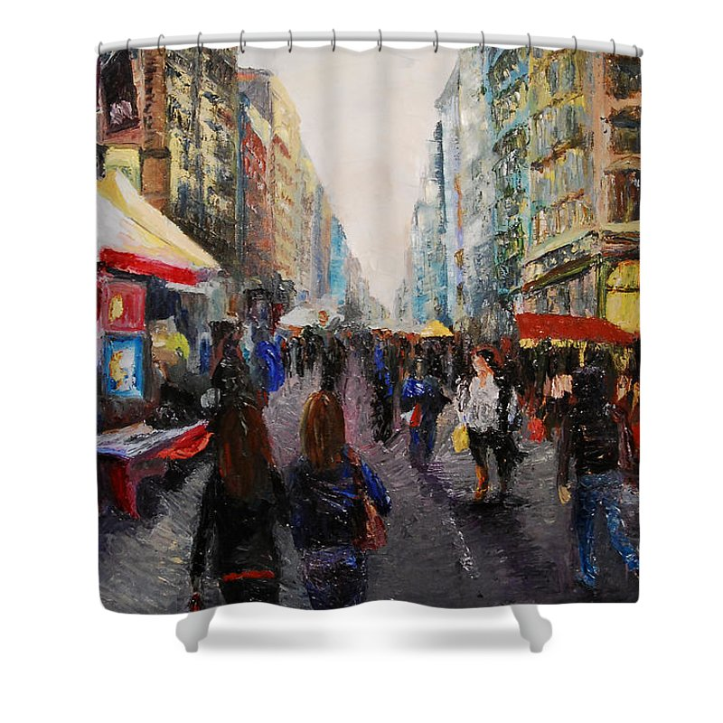 New York Shower Curtain featuring the painting Street Bazaar by Lauren Luna