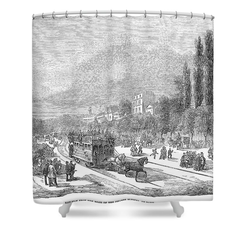 1854 Shower Curtain featuring the photograph Street Railway, 1853 by Granger