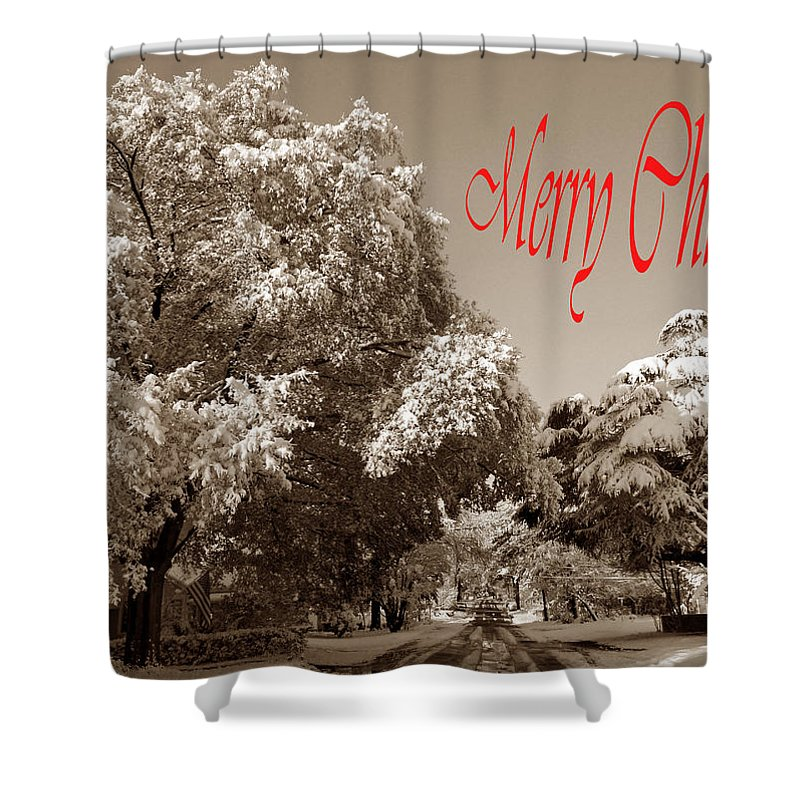 Card Shower Curtain featuring the photograph Street Scene Merry Christmas by Skip Willits