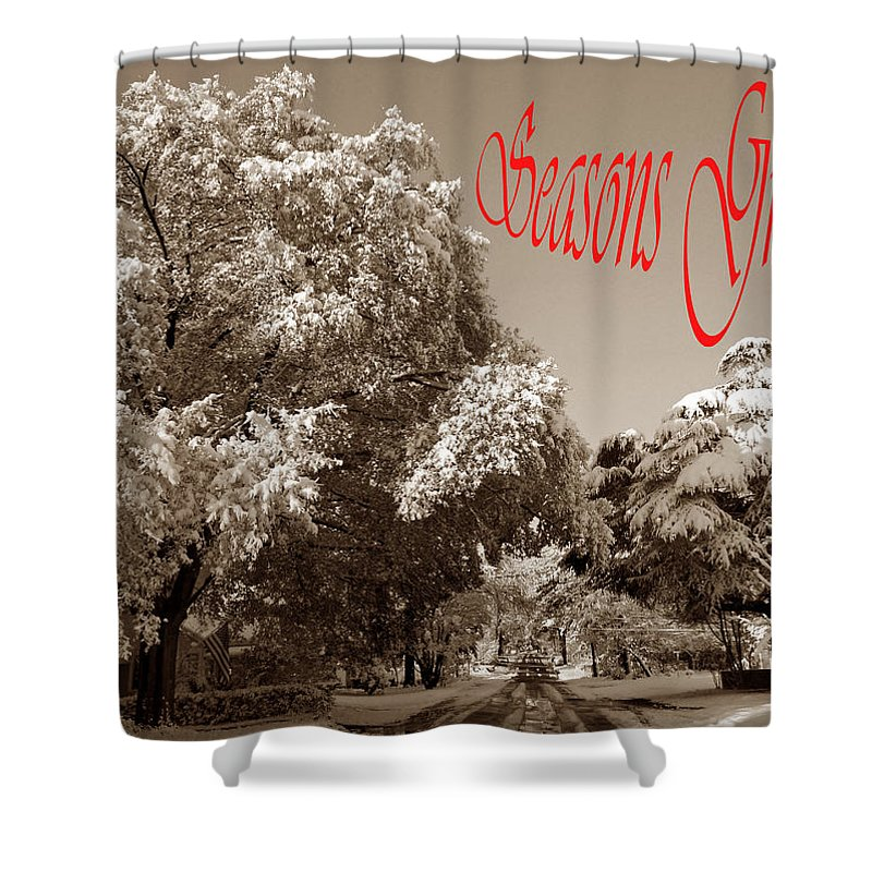 Card Shower Curtain featuring the photograph Street Scene Seasons Greetings by Skip Willits
