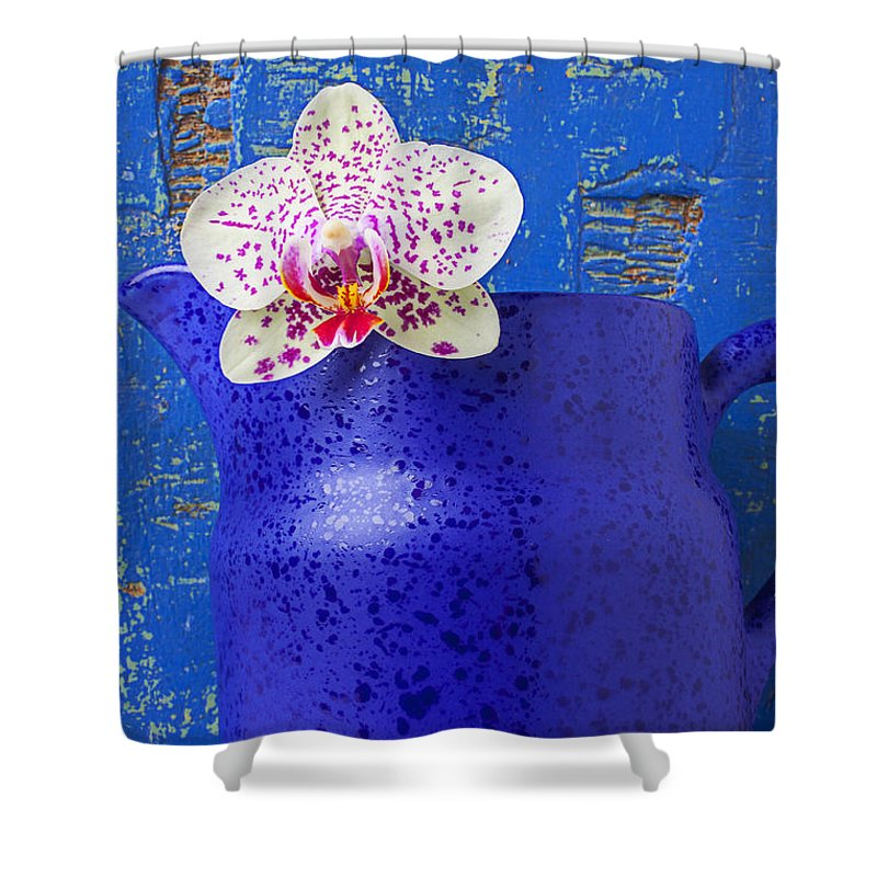 Orchids Shower Curtain featuring the photograph Study In Blue by Garry Gay