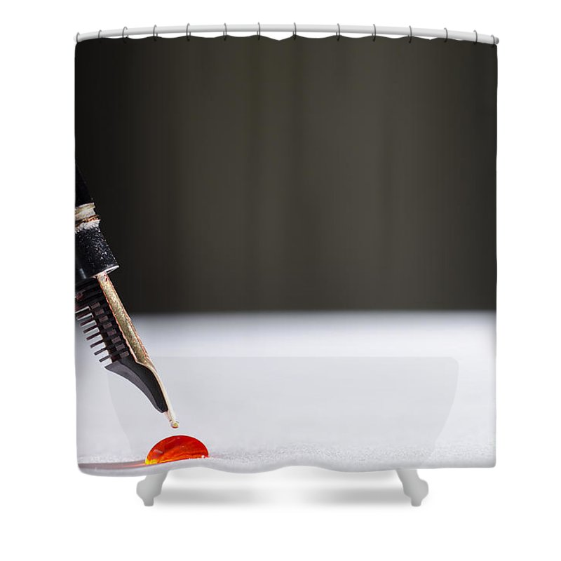 Pen Shower Curtain featuring the photograph Stylograph Pen by Mats Silvan