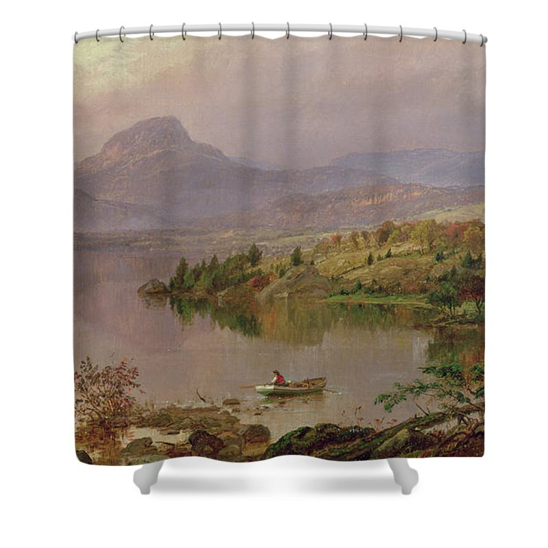 American Landscape; Boat; Mountain; Franklin County; West-central Maine; Spring; Rugged; Solitary; Hudson River School;sugarloaf From Wickham Lake Shower Curtain featuring the painting Sugarloaf From Wickham Lake by Jasper Francis Cropsey