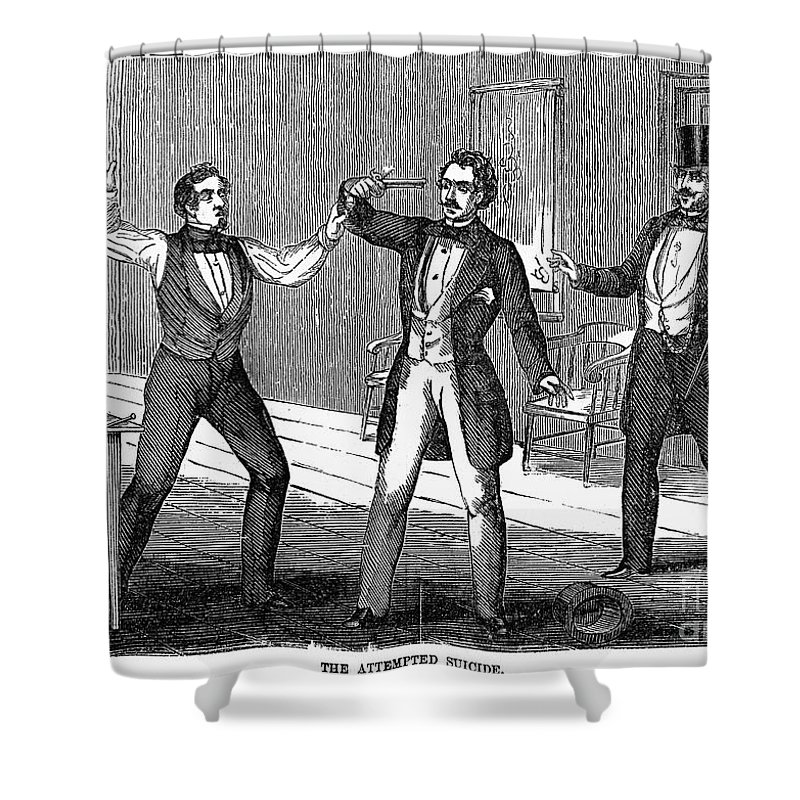 1859 Shower Curtain featuring the photograph Suicide Attempt, 1859 by Granger
