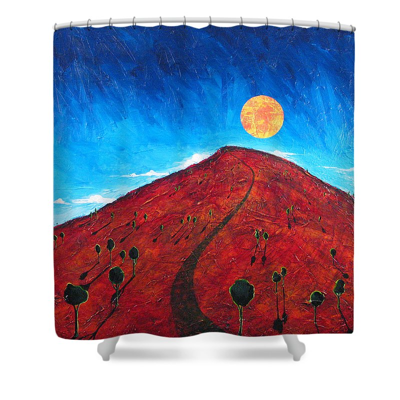 Landscape Shower Curtain featuring the painting Sun Over Red Hill by Rollin Kocsis