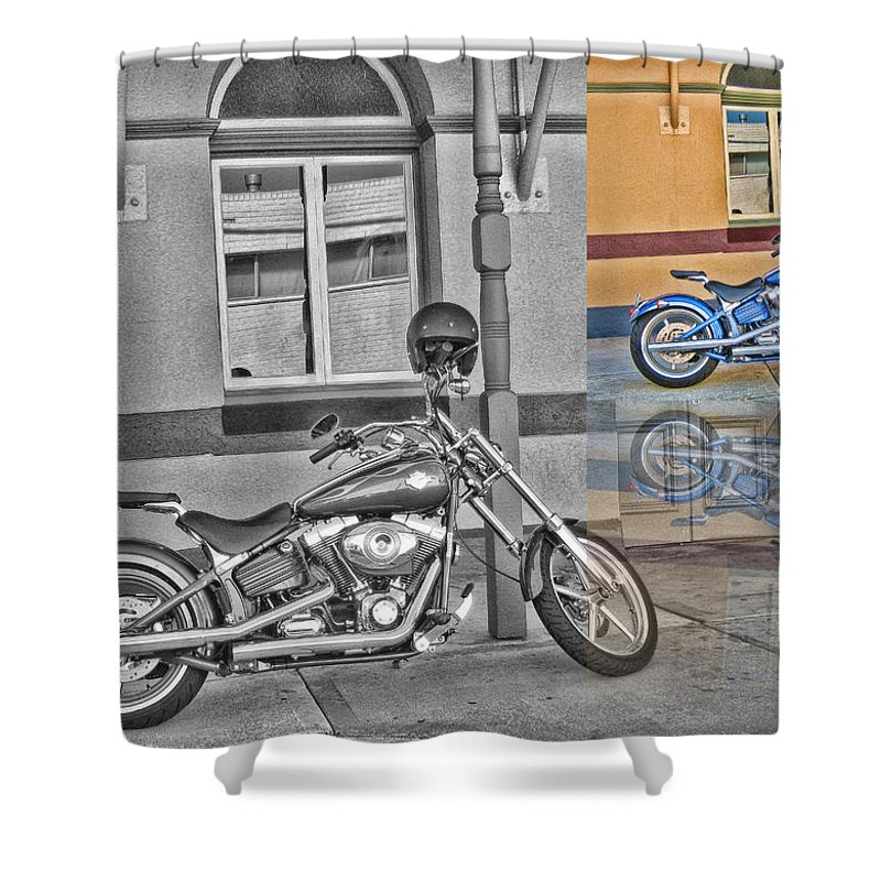 Harley Davidson. Motorcycle Shower Curtain featuring the photograph Sunday At The Pub by Douglas Barnard