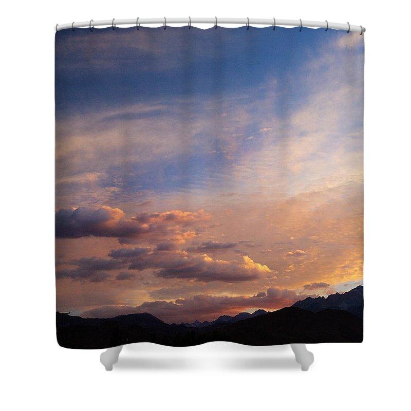 California Sunset Shower Curtain featuring the photograph Sundown On The Sierras by Joe Schofield