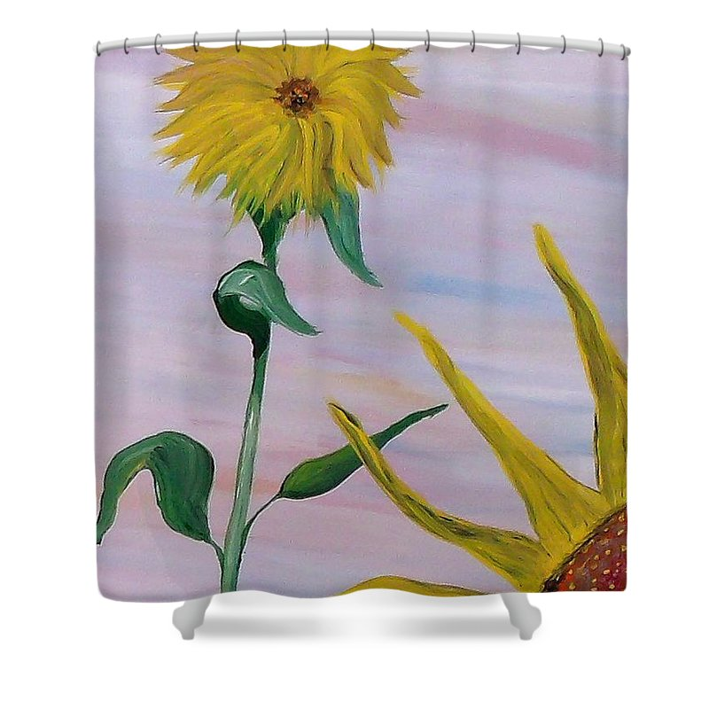 Mark Shower Curtain featuring the painting Sunflower by Mark Moore