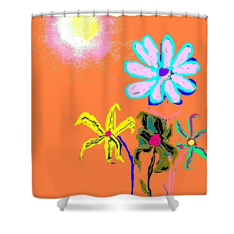 Sun And Garden Of Flowers Shower Curtain featuring the digital art Sunflowered 3 by Enriquemontana Garcia