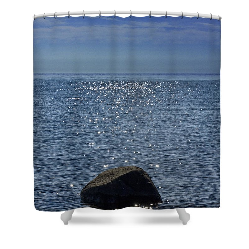 Art Shower Curtain featuring the photograph Sunlight Sparkling On The Water At Sturgeon Point by Randall Nyhof