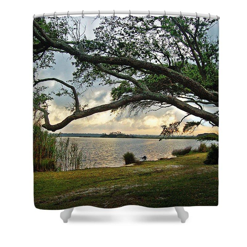 Alabama Photographer Shower Curtain featuring the digital art Sunrise Across The Lagoon by Michael Thomas