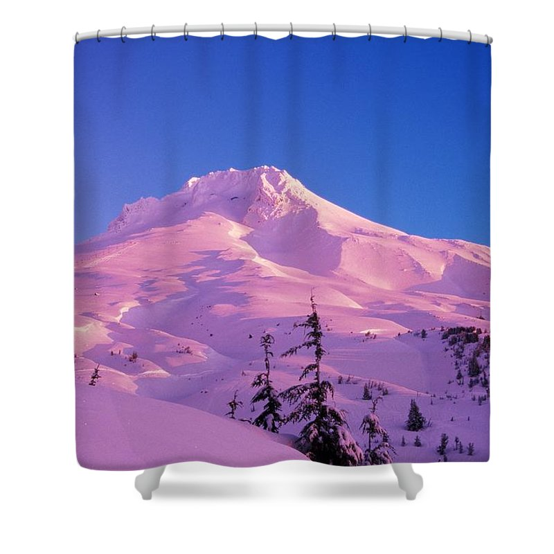 Winter Shower Curtain featuring the photograph Sunrise On Mt. Hood, Oregon, Usa by Natural Selection Craig Tuttle