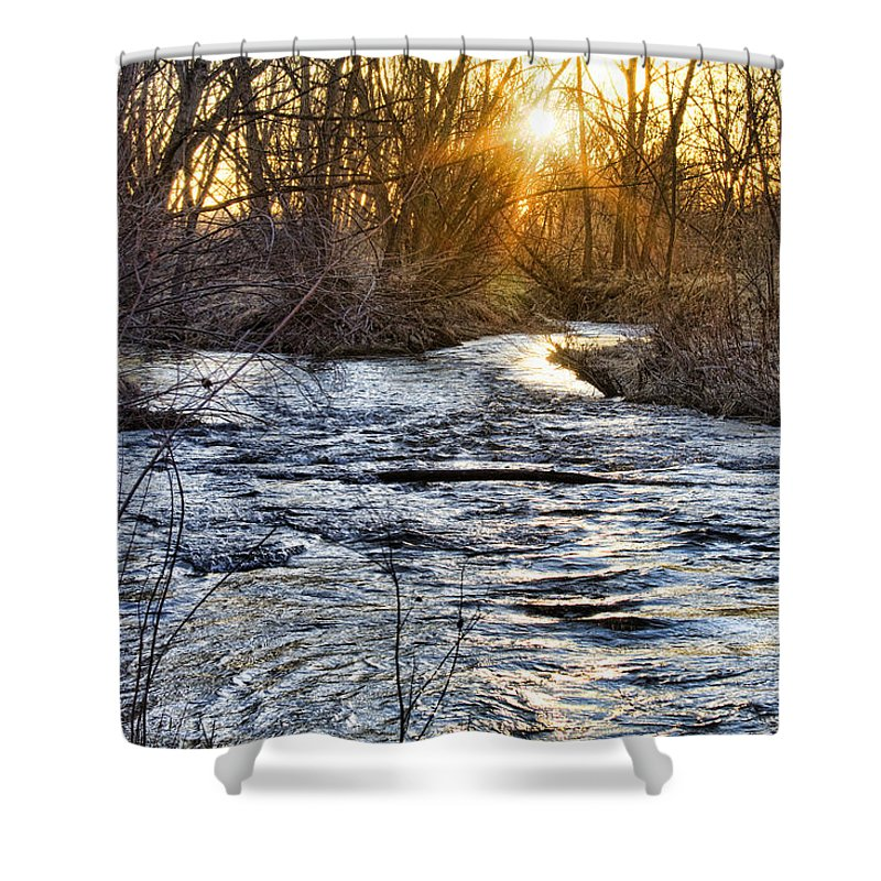 Early Shower Curtain featuring the photograph Sunrise On The St Vrain River by James BO Insogna
