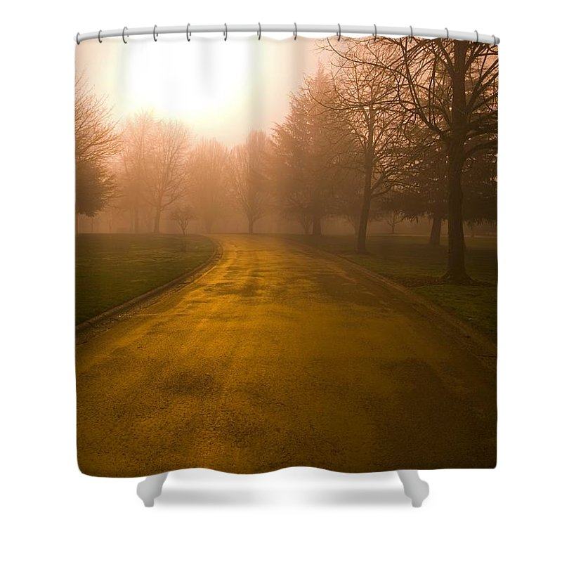 Color Image Shower Curtain featuring the photograph Sunrise Over Country Road, Oregon by Craig Tuttle
