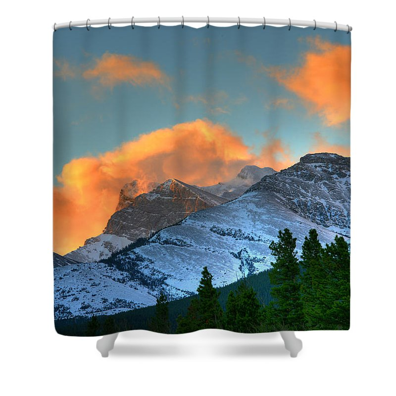 Light Shower Curtain featuring the photograph Sunrise Over Crowsnest Pass, Border by Robert Postma