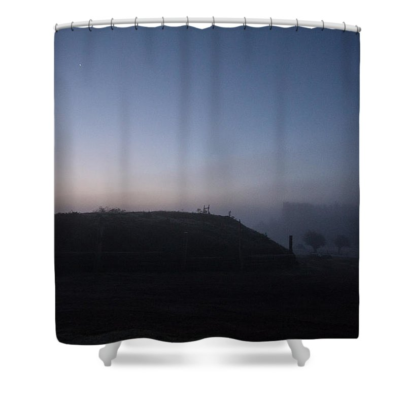 Sunrise Shower Curtain featuring the photograph Sunrise Over The Hill by Dawn OConnor
