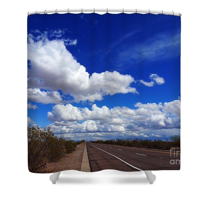 Sunrise Parkway Shower Curtain featuring the photograph Sunrise Parkway by Methune Hively