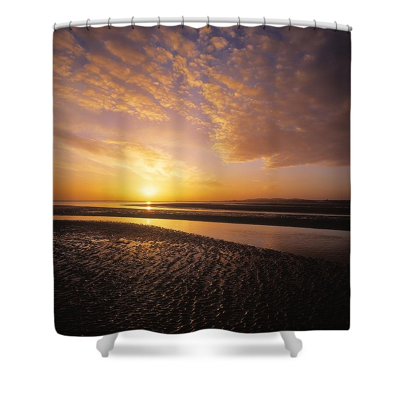 Beach Shower Curtain featuring the photograph Sunrise, Sandymount Strand Dun by The Irish Image Collection