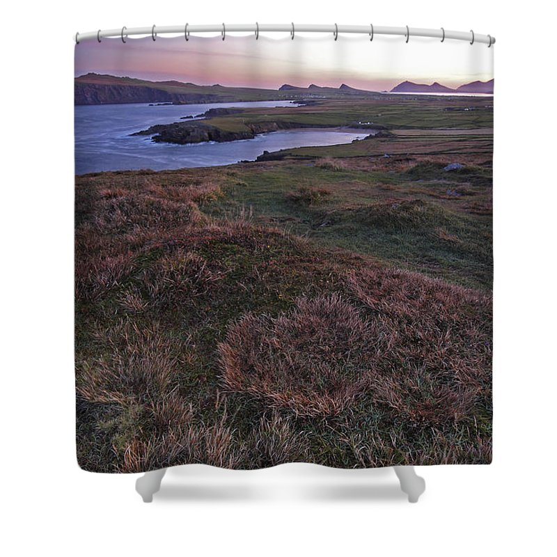 Republic Of Ireland Shower Curtain featuring the photograph Sunrise View Of Clogher Beach by Trish Punch