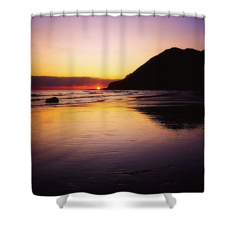 Beach Shower Curtain featuring the photograph Sunset And Sea by The Irish Image Collection