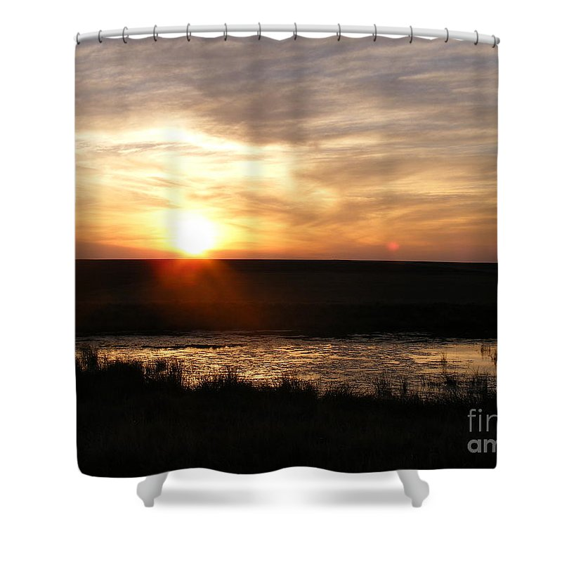 Sunset Shower Curtain featuring the photograph Sunset And Water by Helena Marais