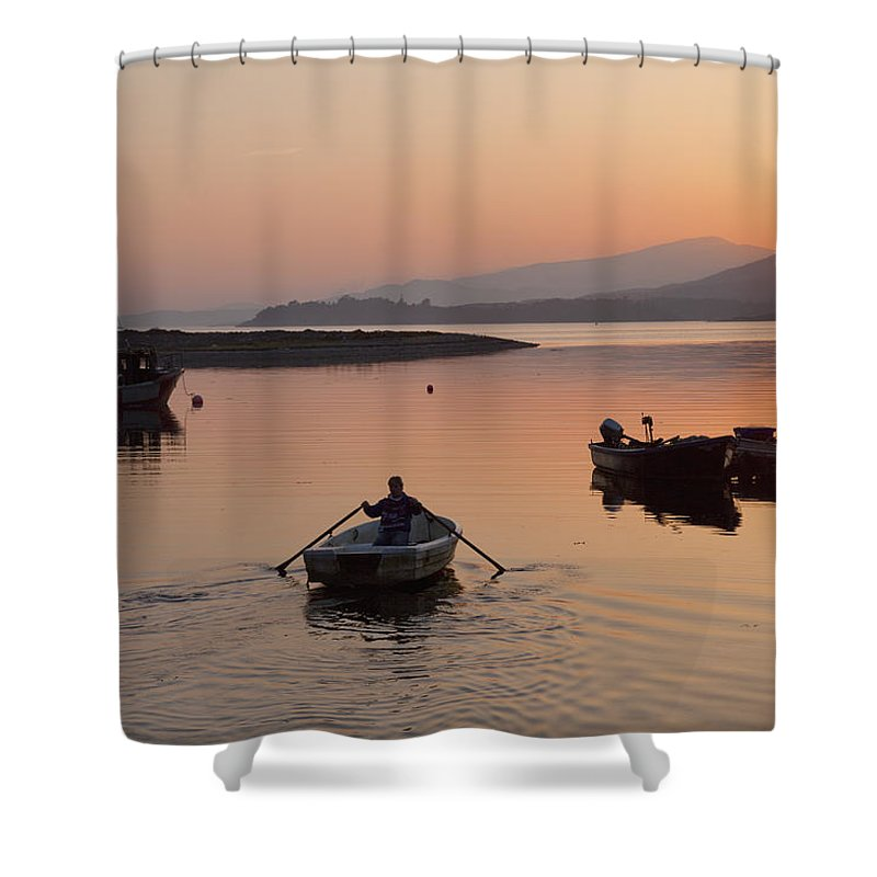 40-45 Years Shower Curtain featuring the photograph Sunset At Rosdohan Pier Near Sneem by Peter Zoeller