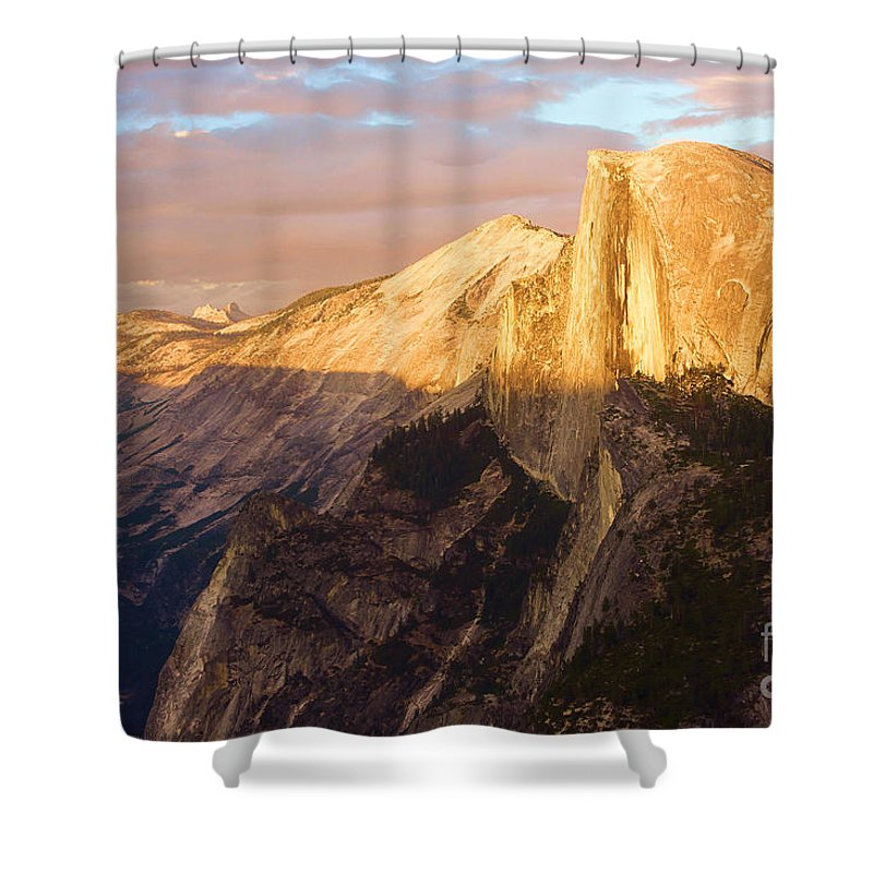 Half Dome Shower Curtain featuring the photograph Sunset At The Dome by Adam Jewell