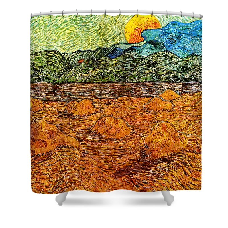 Impressionism Shower Curtain featuring the painting Sunset At The Hills by Sumit Mehndiratta