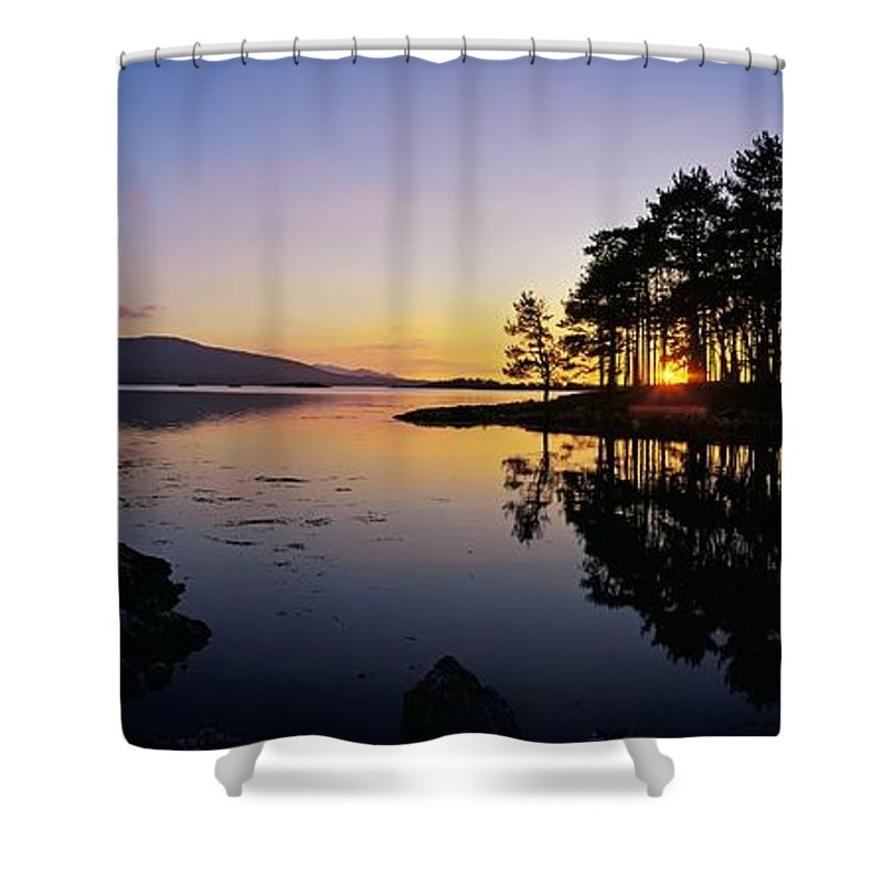 Color Image Shower Curtain featuring the photograph Sunset At The Lake, Kenmare, Ring Of by The Irish Image Collection