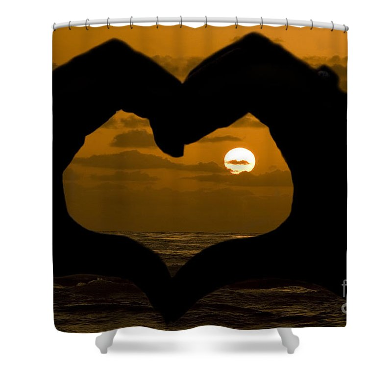 Sunset Shower Curtain featuring the photograph Sunset Hearts by Daniel Knighton