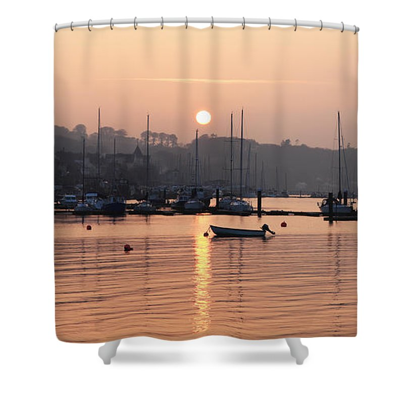Dusk Shower Curtain featuring the photograph Sunset In The Harbor Crosshaven County by Peter Zoeller