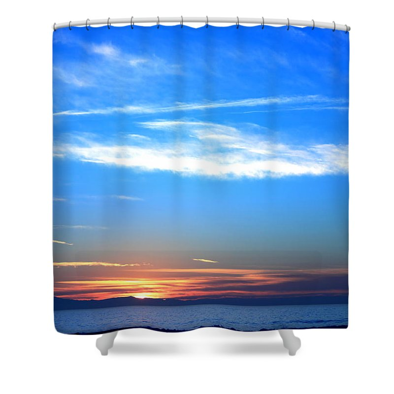 Abstract Shower Curtain featuring the photograph Sunset Ocean Blue by Henrik Lehnerer