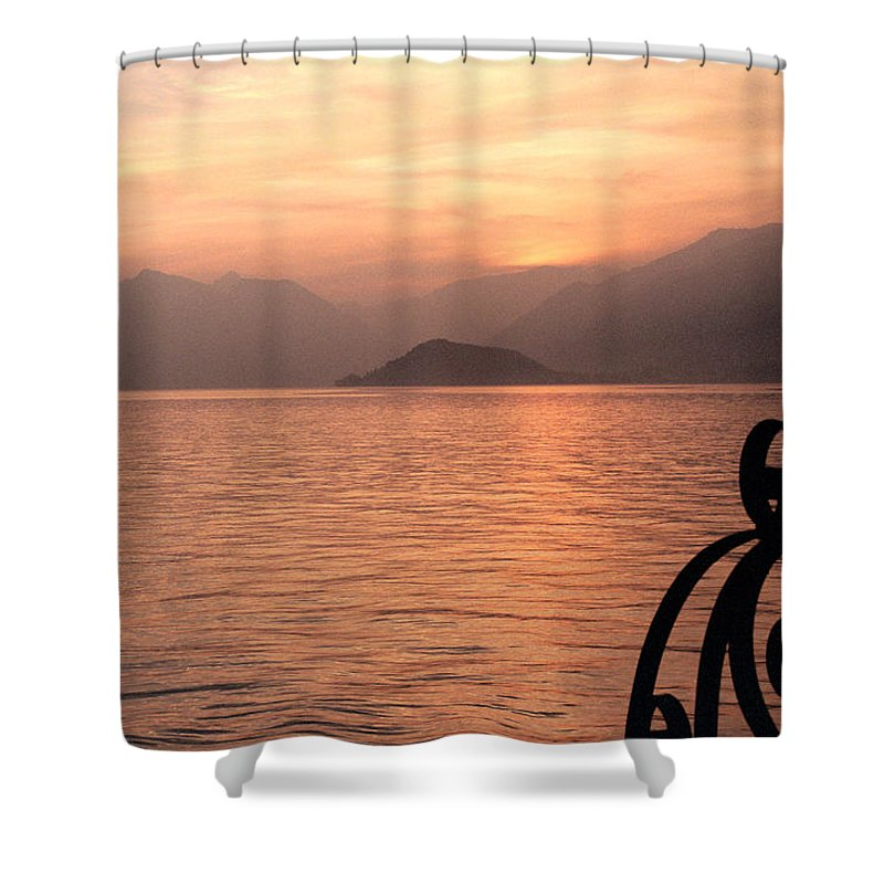 Sunset Shower Curtain featuring the photograph Sunset On Lake Como by Greg Matchick