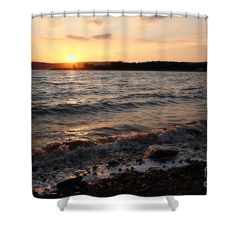 Intertidal Shower Curtain featuring the photograph Sunset On The Bay Of Fundy by Ted Kinsman