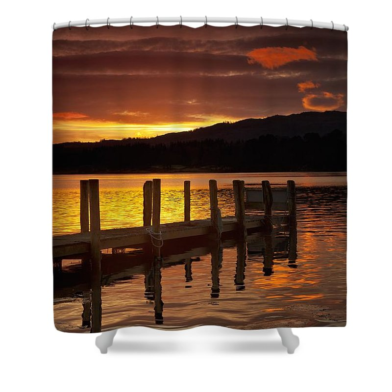 Sunset Over Dock At Lake Windermere Shower Curtain for Sale by John ...