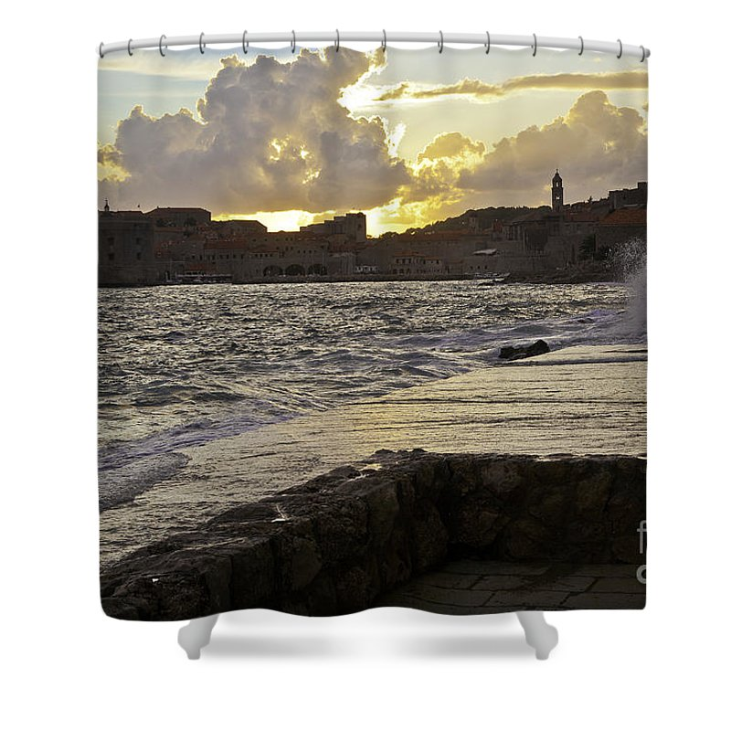 Sun Shower Curtain featuring the photograph Sunset Over Dubrovnik 2 by Madeline Ellis
