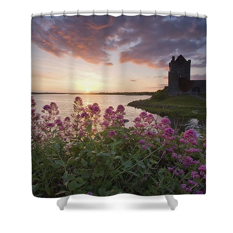 Castle Shower Curtain featuring the photograph Sunset Over Dunguaire Castle, Kinvara by Gareth McCormack
