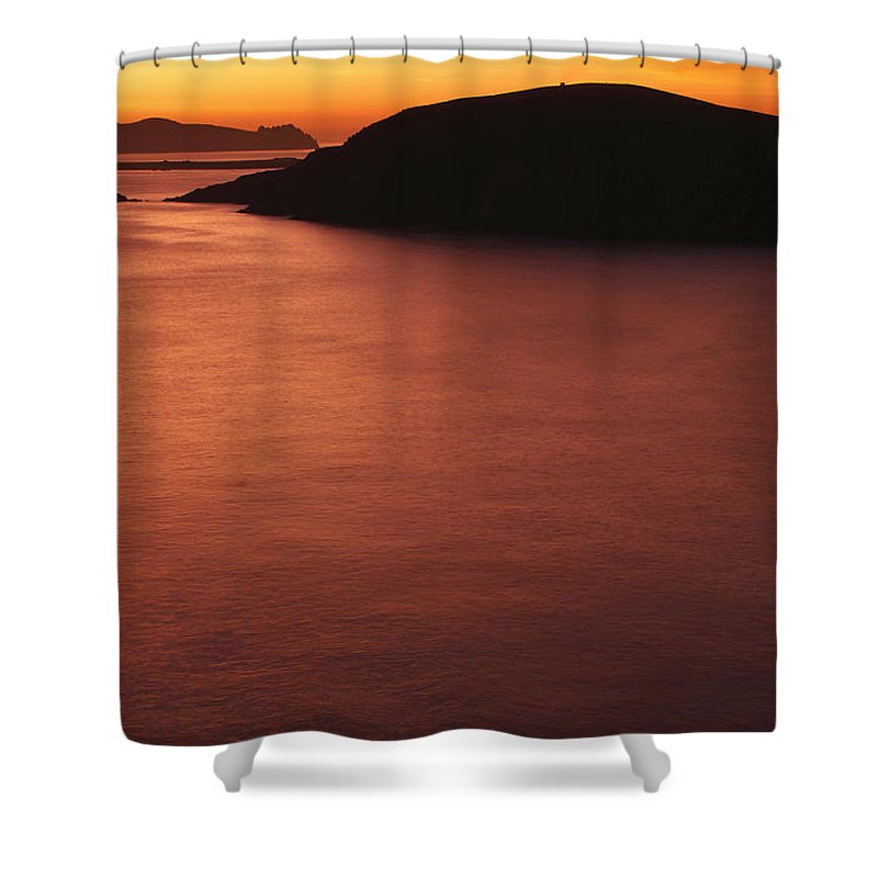 Coast Shower Curtain featuring the photograph Sunset Over Dunmore Head by Trish Punch