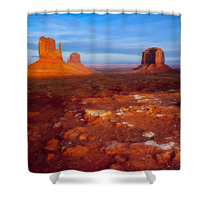 America Shower Curtain featuring the photograph Sunset Over Monument Valley by Brian Jannsen