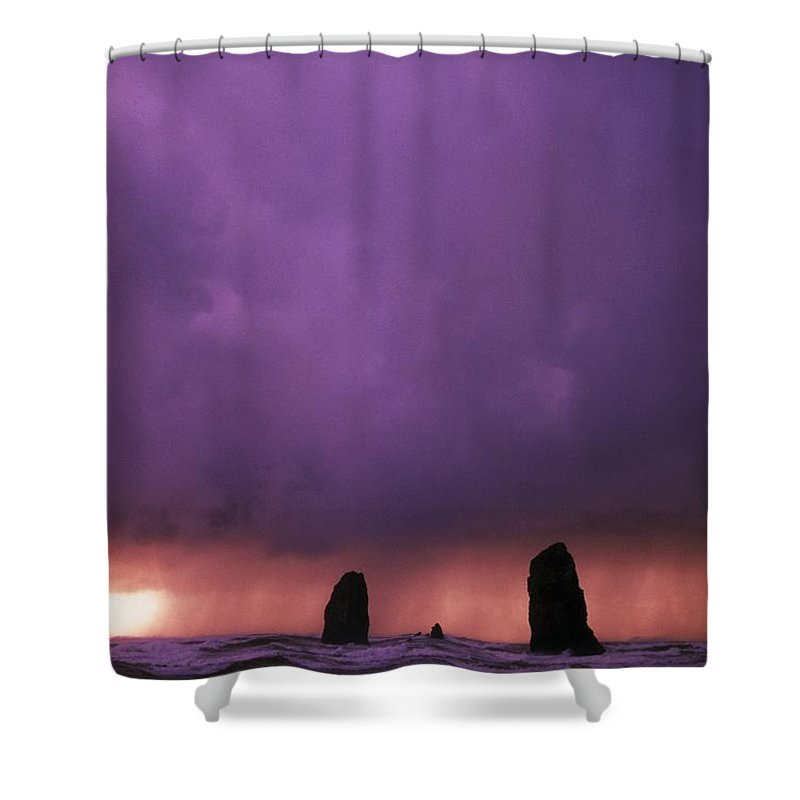 Outdoors Shower Curtain featuring the photograph Sunset Over Needles On The Ocean At by Natural Selection Craig Tuttle